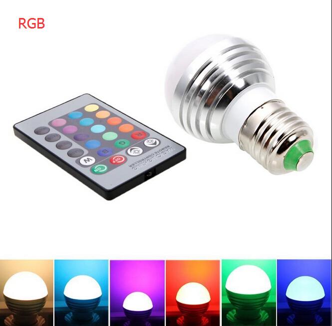 3W/5W/10W E27 RGB LED Bulb Lamp Lights Spotlight led lights 16 Colors Changing + 24key IR Remote Controller Magic bulb lighting(China (Mainland))