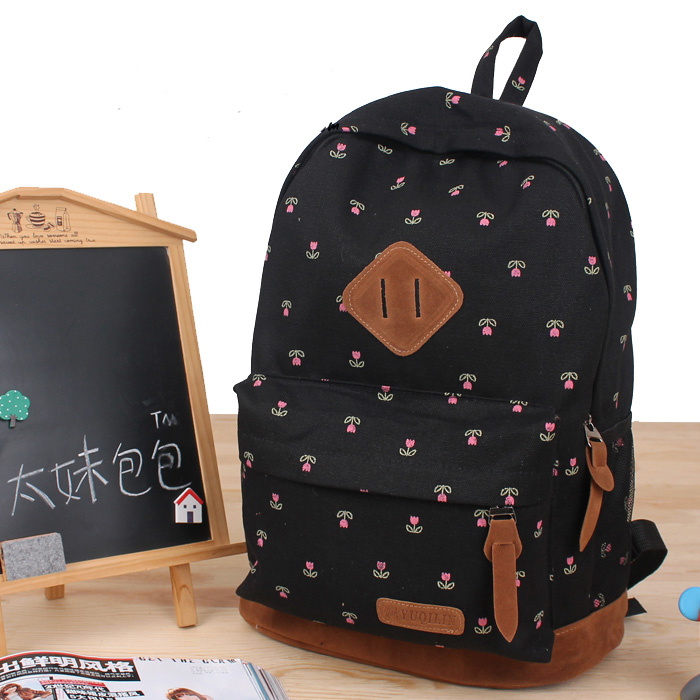 Teen Backpacks - Fashion Cute Flower School Knapsacks Teenage Girl Sweet Printing Backpack Canvas Bookbag Backpacks Bags Mochila Feminina