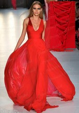 Cheap Wholesale Sheath Deep V Neck Lace Up Back Long Red Chiffon Celebrity Inspired Dress Sexy Red Carpet Gown From China EN052(China (Mainland))