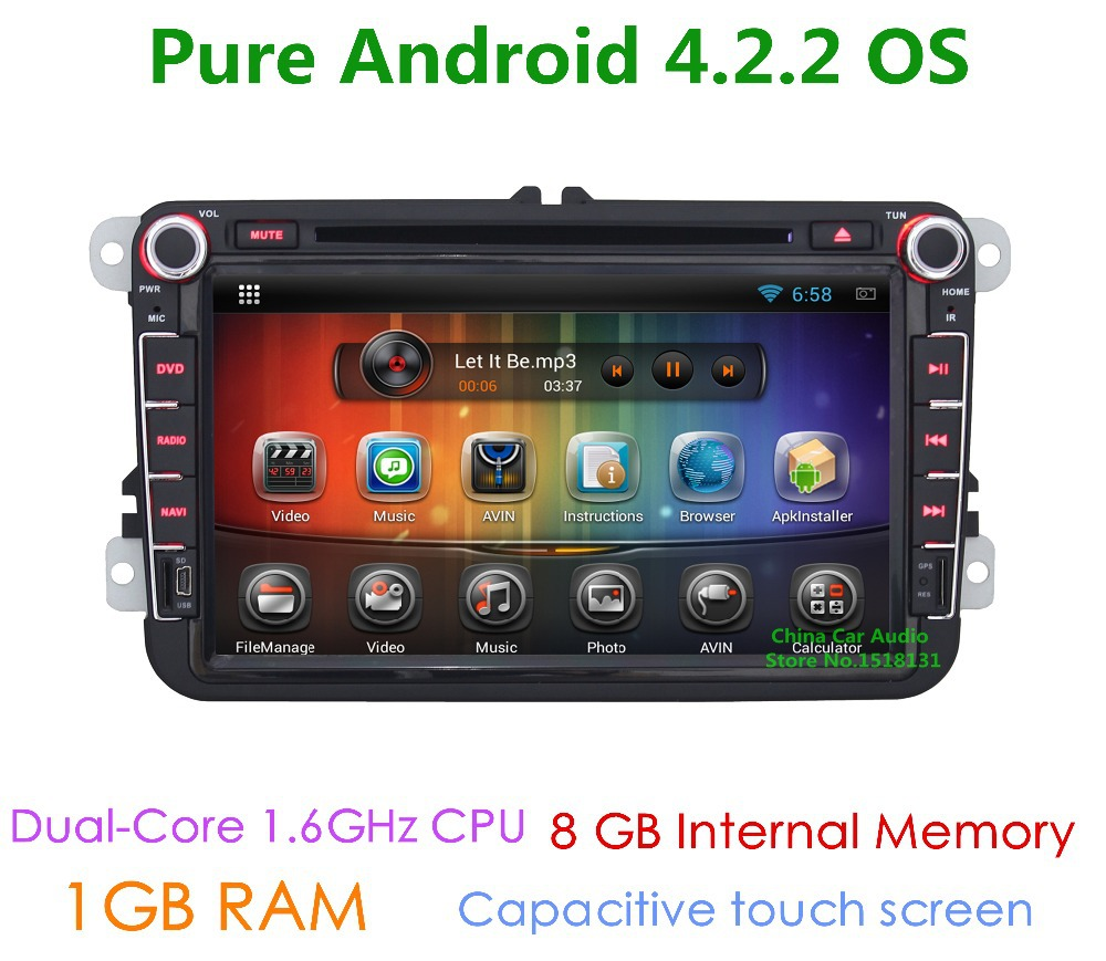 Pure Android 4.2 Car DVD Player for Volkswagen VW Polo sedan Touran Jetta Passat b6 b7 cc 4 5 6 GPS Navigation 1.6G CPU Radio(China (Mainland))