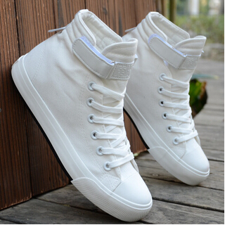 Quality Brand Solid High-top Canvas Shoes Casual Men's Sprot Shoes Lace-up Breathable White High Shoes Men(China (Mainland))