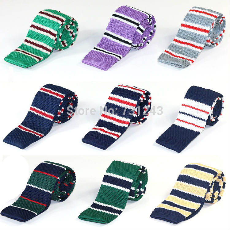 Striped Skinny Knitted ties for men 100% Polyester Woven mens Slim necktie for Party Business Brand Handmade Cheap Neck Tie(China (Mainland))
