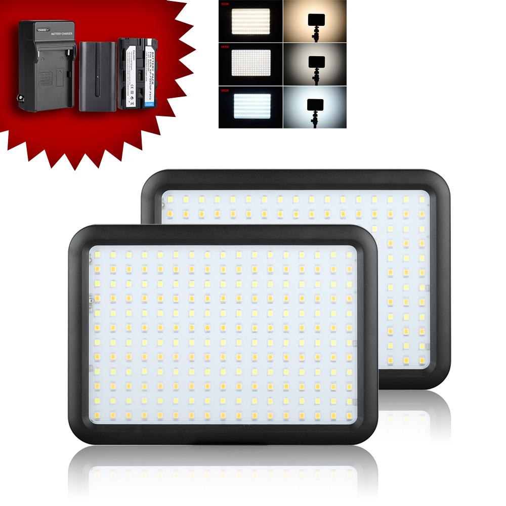 Здесь можно купить  2pcs/lot Led Video Light Panel 204 PCS LED Bi-color Temperature 3200K-5600K Photo Camera Studio Lighting + 2 Batteries + Charger  Бытовая электроника