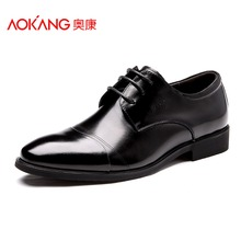 Aokang Men Dress Shoes Genuine Leather 2016 Fashion Men's Oxford Shoes Leather Derby Shoe Lace-up Plus Size 38-47 Free shipping(China (Mainland))