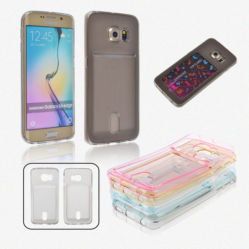 New S6 Edge Cases Ultra Thin TPU Clear Case Cover For Samsung Galaxy S6 Slim Crystal Back Mobile Phone Shell With one Card Slot(China (Mainland))