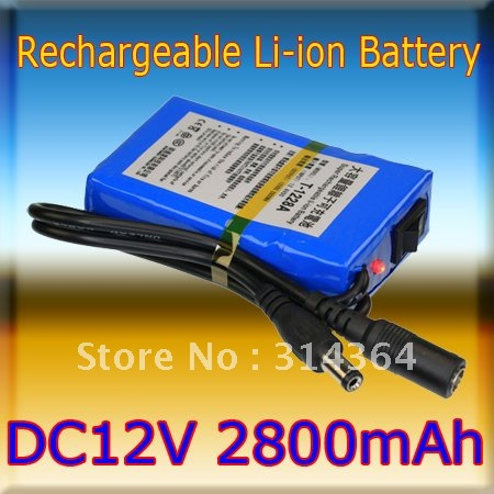 Portable 12V 2800mAh Rechargeable Battery Pack for CCTV Camera LED Strip wireless transmitter Good Quality(China (Mainland))