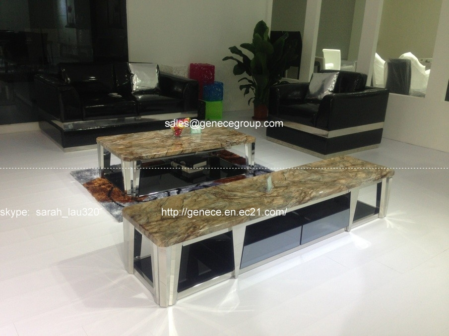 hardware metal living room furniture tv stand tv cabinet and matching marble top coffee table