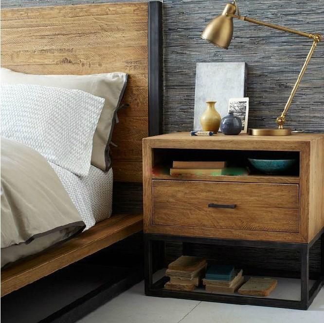 amerikanischen retro holz nachttisch ikea beistelltisch loft eisen holz grade band pumpen. Black Bedroom Furniture Sets. Home Design Ideas