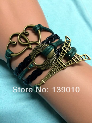 Promotions Wholesale!Black Leather Rope Braided Women Bracelet Personalized Fashion Wing Heart Eiffel Tower Jewelry C-468(China (Mainland))