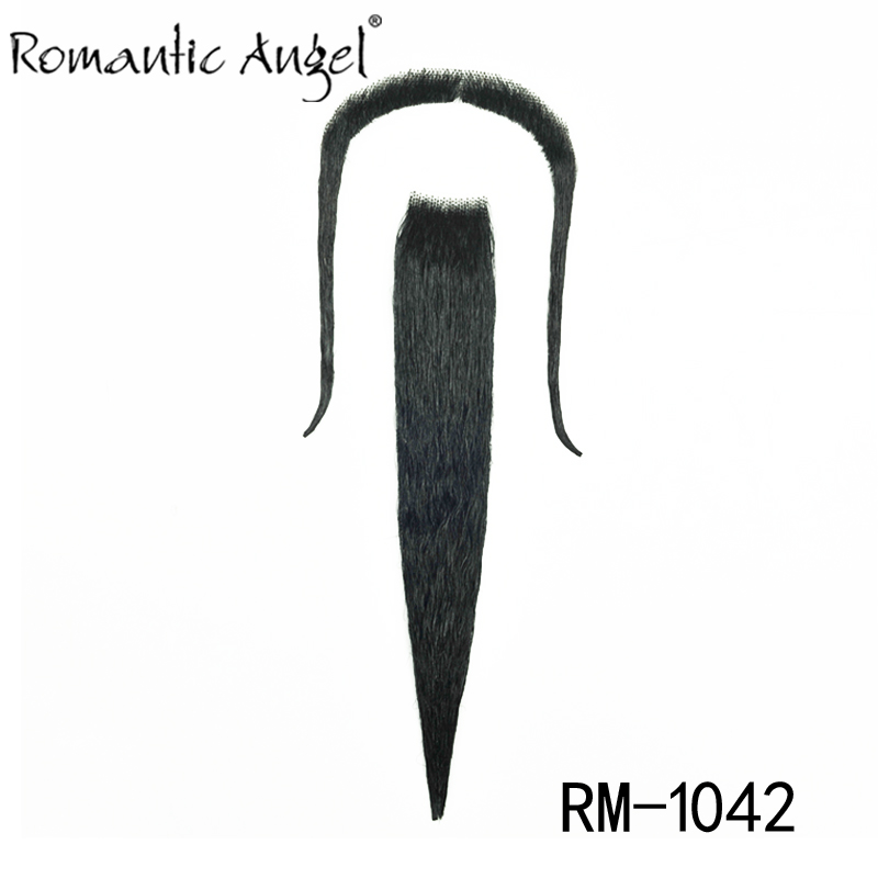 Popular Costume Party Halloween Fake Beard and Moustache 100% Human Hair Full Hand Tied(China (Mainland))
