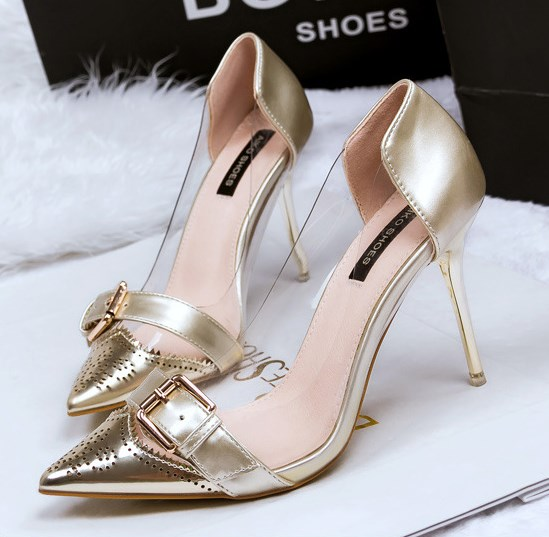 Shallow mouth pointed high-heeled shoes women shoes stitching transparent sexy big fine with silver shoes<br><br>Aliexpress