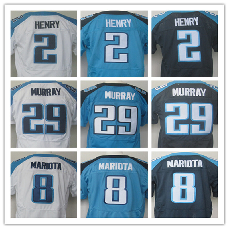 Cheap Men's New wholesale #29 DeMarco Murray Jersey #8 Marcus Mariota elite white navy blue 100% Stitched sport jersey(China (Mainland))