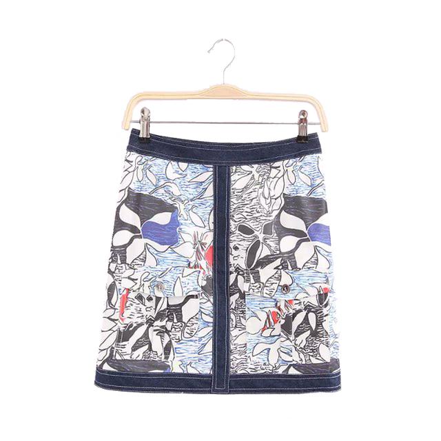 Женщины цветочные Джинса винтаж мини-Линии юбки FeМиниnas повседневная одежда офис ...