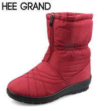 HEE GRAND Plus Size Waterproof Flexible Cube Woman Boots High Quality Cozy Warm Fur Inside Snow Boots Winter Shoes Woman XWX3375(China (Mainland))