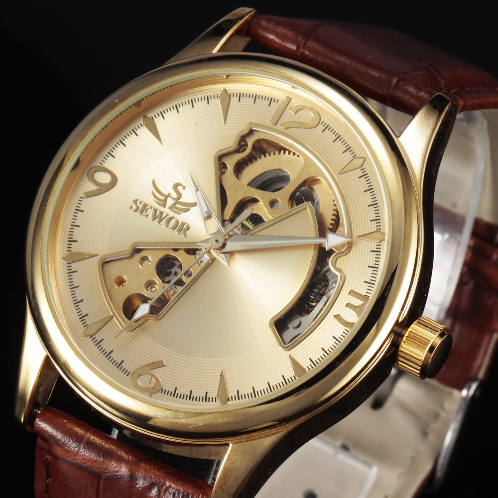 2016 Fashion SEWOR Men Gold Skeleton Military Watch Leather Strap Business Clock Dress Luxury Automatic Mechanical Watches - Golden Years Store store