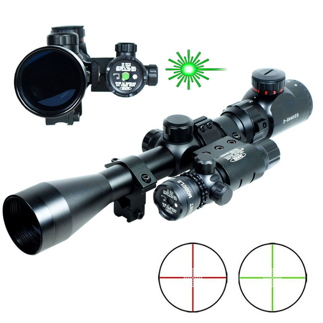 Professional 3-9x40 Rifle Scope Mil-Dot illuminated Snipe Scope & Green Laser Sight Airsoft for hunting