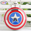 Captain America Icon Pendant Necklace Chain Quartz Pocket Watch Men Women Free shipping DS036