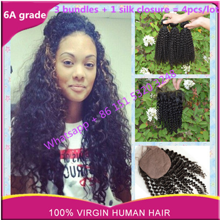 peruvian virginy hair with silk closure peruvian kinky curly with silk base closure rosa hair bundles with silk closure no shed