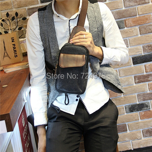 Canvas mix PU leather vintage design men outdoors fashion chest bags fanny pack,casual man waist-bag male - Lotus Warehouse store