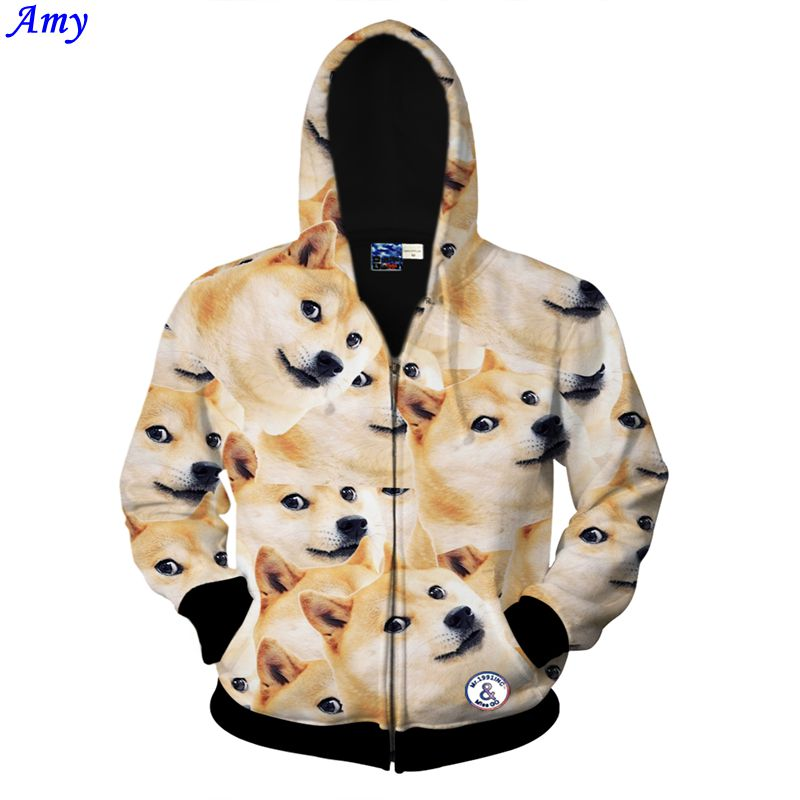 [Amy] 2015 new women men Sweatshirt for women cute fashion 3D dog Animal printed Zipper hooded hoodies Size S-XXL free shipОдежда и ак�е��уары<br><br><br>Aliexpress