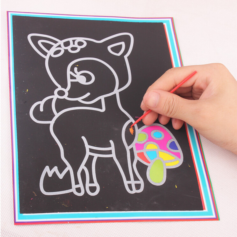 20pcs/lot 12.7*17.2CMTwo-in-one Magic Color Scratch Art Paper Coloring Cards Scraping Drawing Toys for Children L356(China (Mainland))