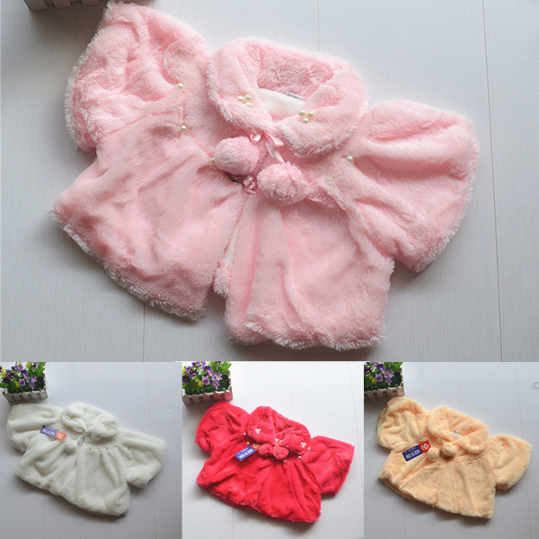 Infant Kids Girls Pearl Coat Cloak Jacket Baby Child Soft Wool Outwear Coat 2-7Y Dropshipping Freeshipping(China (Mainland))