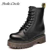 Uśmiech koło Size36-41 Chunky buty motocyklowe dla kobiet jesień 2018 moda okrągły nosek sznurowane buty wojskowe buty damskie(China)
