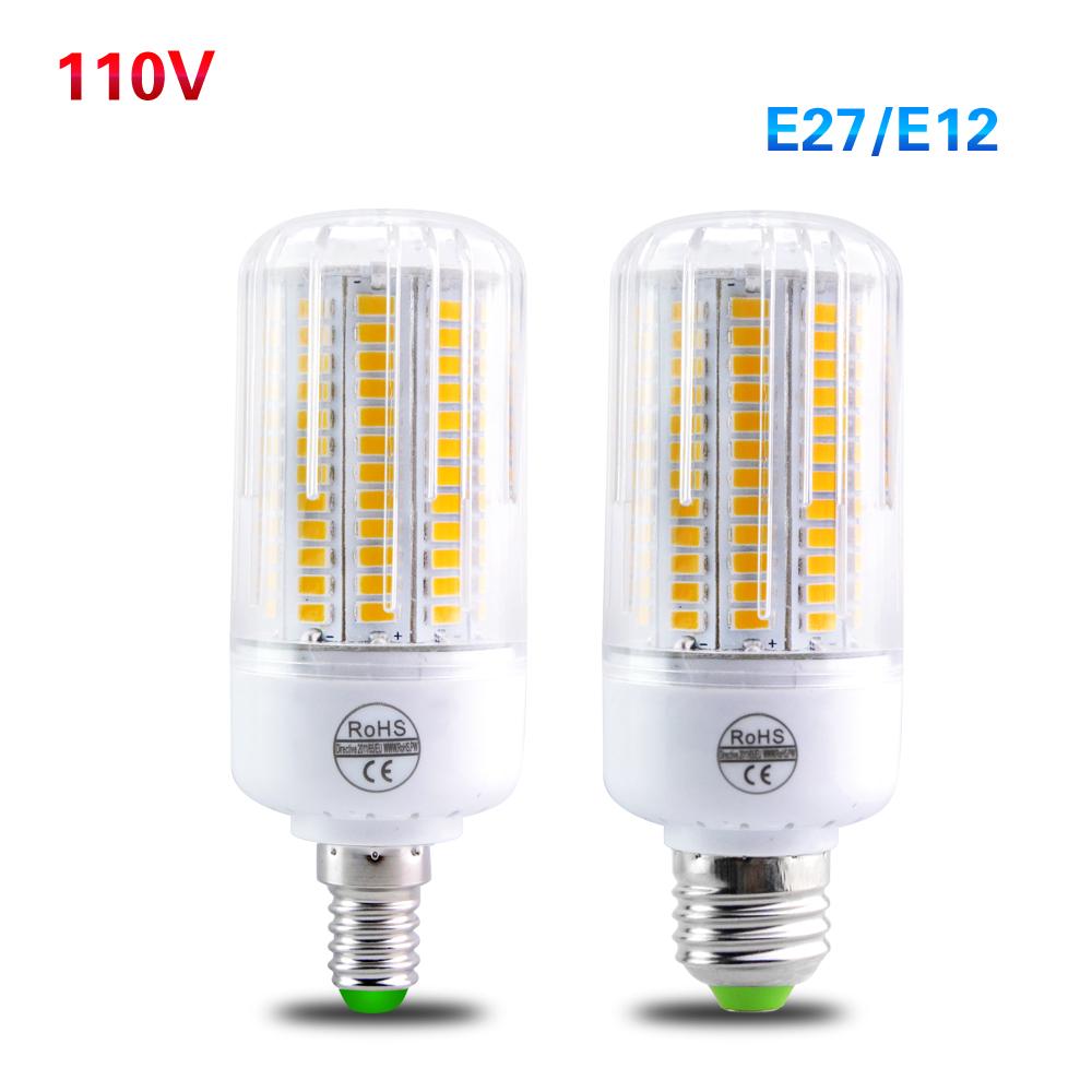 LED E27 E12 Lampada Led 110V 5730 Led Light Bulb Lamp Candle Chandeliers 24 30 42 64 89 108 Leds Corn Bulb Light Radiation Cover(China (Mainland))