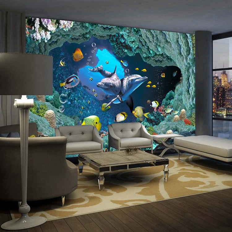 Buy 3d underwater world wallpaper custom for 3d mural wallpaper for bedroom