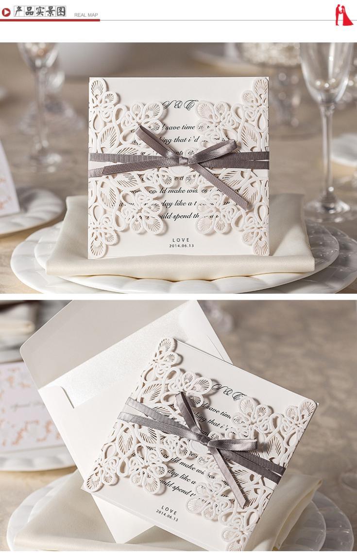 acheter vente en gros dentelle argent bowknot invitations de mariage carte vintage d coup au. Black Bedroom Furniture Sets. Home Design Ideas