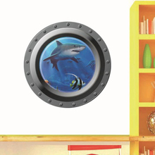 Buy Submarine Window Underwater World 3D Wall Sticker Home Decor Hot Selling Cartoon Wall Decoration Arts wallpaper Home Decor for $5.12 in AliExpress store