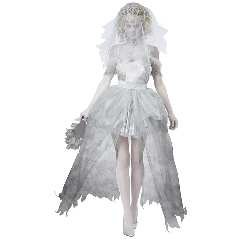 Gray sexy vampire bride costume cosplay zombie costumes Halloween costume for women scary funny uniforms(China (Mainland))