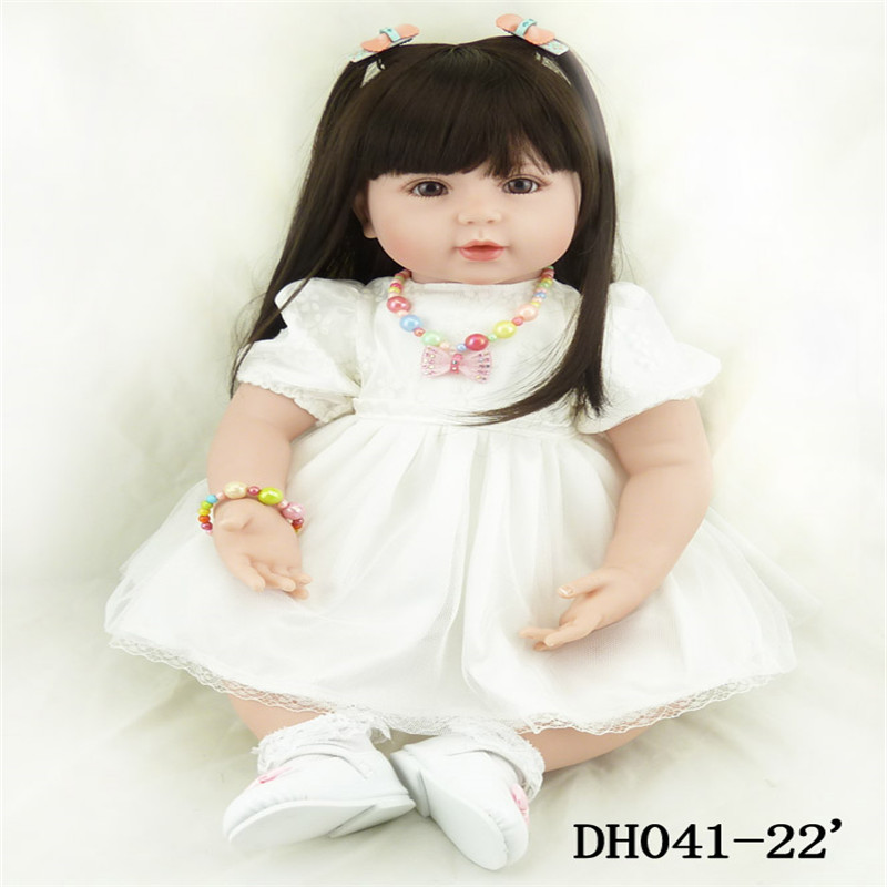 22 inch 55 cm baby reborn Silicone dolls, lifelike doll reborn babies toys Beautiful fashion white gauze dress doll(China (Mainland))
