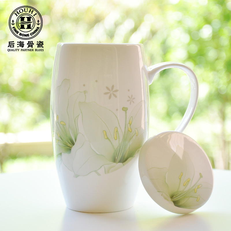 Free shipping gifts large glass coasters genuine bone china mug with lid ceramic cup creative capacity drum Cup(China (Mainland))