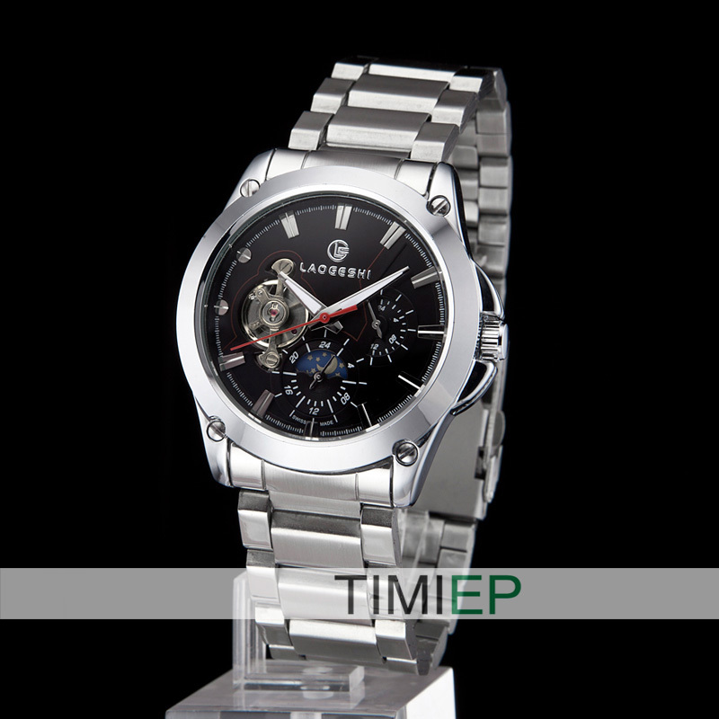 Luxry Mechanical Silver Band Black Mens Watches Self-Winding  Mens Tourbillon Watch<br><br>Aliexpress