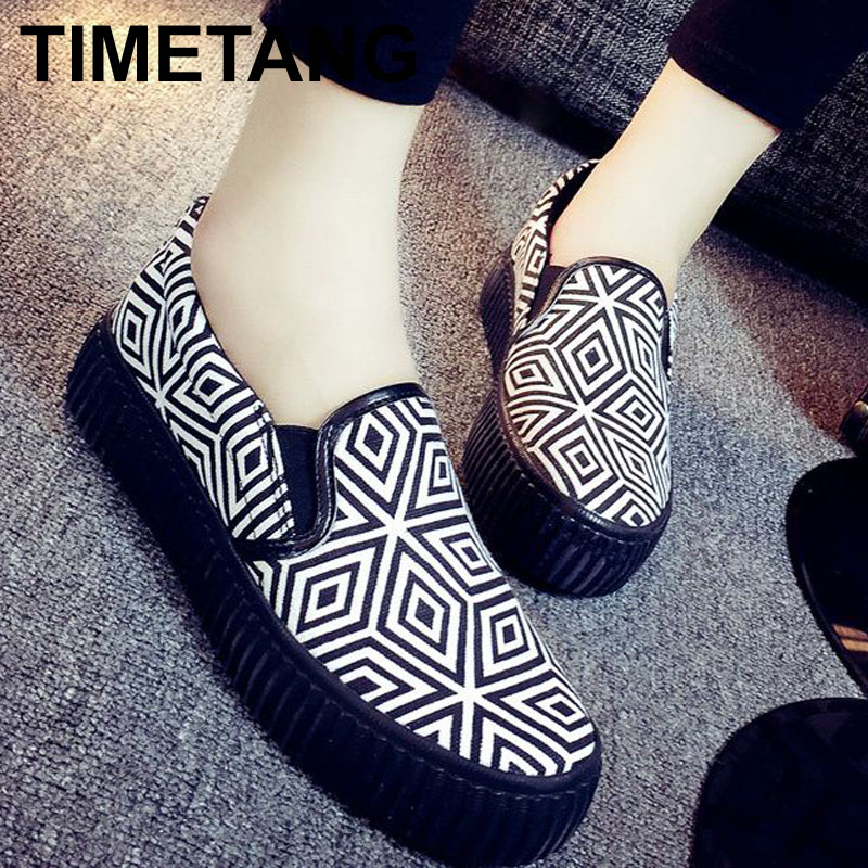 New 2016 Spring Autumn Bohemian Loafers Women Brand Flat Shoes Elegant Casual Canvas Shoes Muffin Bottom Free Shipping Y007(China (Mainland))