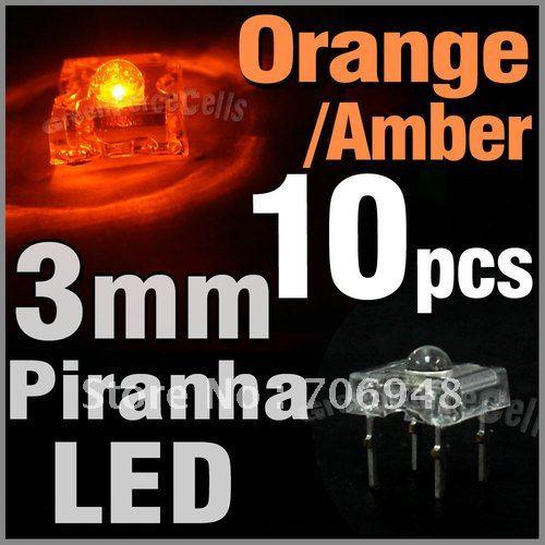 120pcs 3mm Piranha LED 1200mcd Orange color,super flux(China (Mainland))