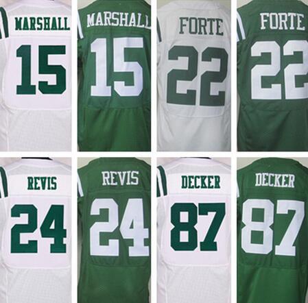 Best quality jersey,Men's 15 Brandon Marshall 22 Matt Forte 24 Darrelle Revis 87 Eric Decker elite jerseys,White and Green(China (Mainland))