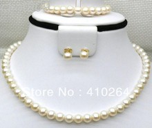 $wholesale_jewelry_wig$ Free Shipping Natural 6-6.5mm AAA+ round black brown south sea pearls SET 14K yellow gold(China (Mainland))