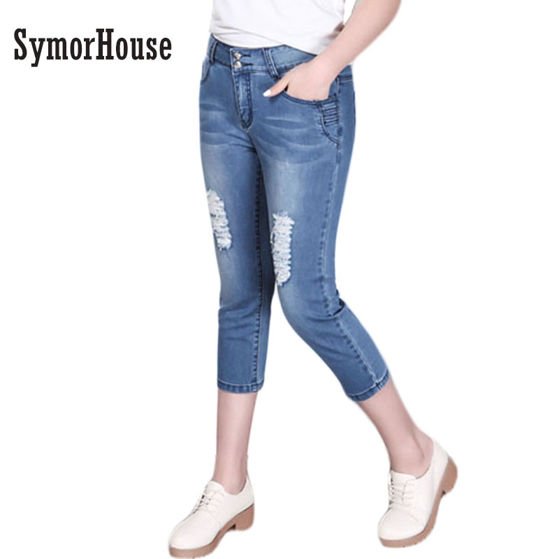 Summer Autumn Woman Ripped Hole Capris Jeans Plus big Size Women Jeans  Fashion High waist Jeans - Compare Prices On Rip Capri- Online Shopping/Buy Low Price Rip