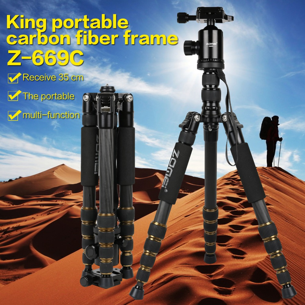 ZOMEI Z699C Professional Portable Travel Carbon fiber camera Tripod Monopod+Ball head for Digital SLR DSLR Camera(China (Mainland))