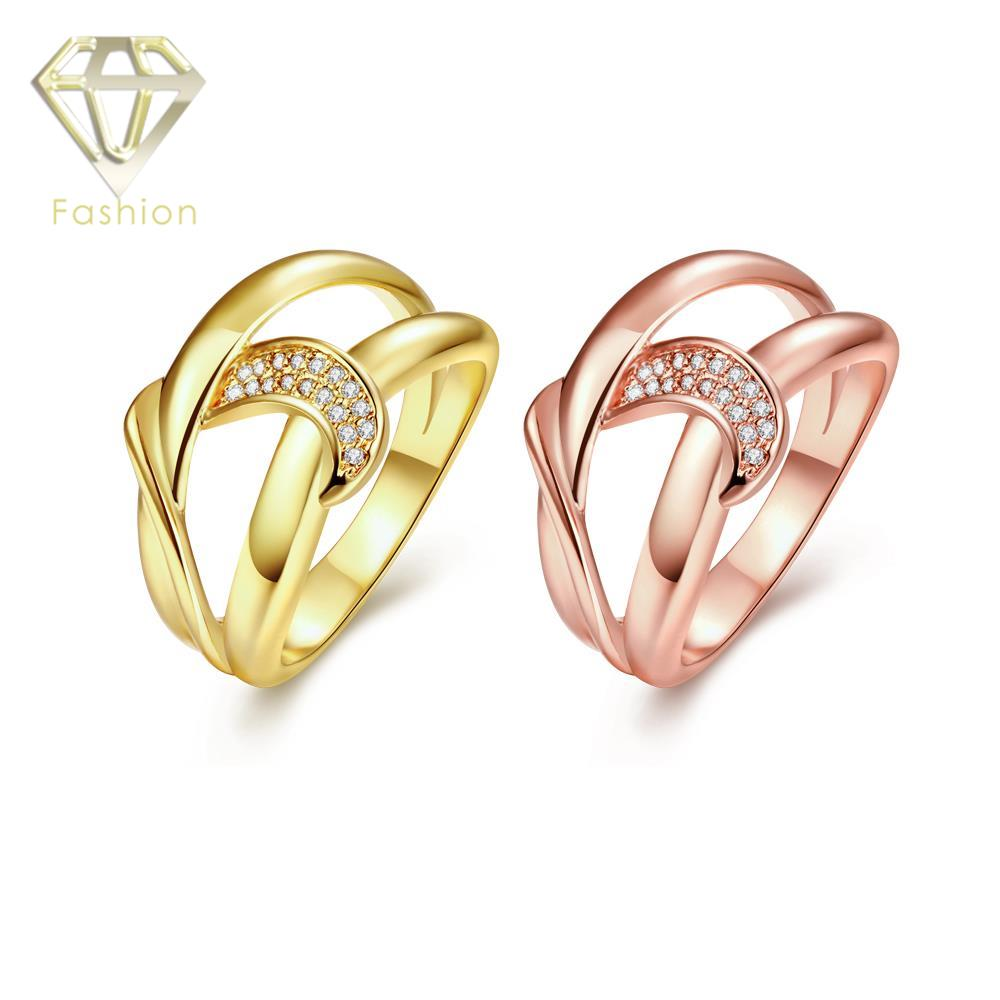 Buy Gold Jewellery Online Top Quality Geometric Design Inlaid CZ Diamonds 18K/Rose Gold Plated Engagement Rings for Women(China (Mainland))