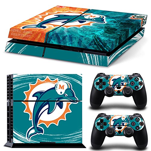 NFL 15 Teams AVAILABLE Miami Dolphins Play 4 PS4 Skins For play station 4 Sticker Decal Cover + 2 Controller Sticker ps4(China (Mainland))