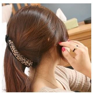 2016 New Hair accessory elegant leopard print acrylic hairpin banana clip vertical clip horsetail clip 065(China (Mainland))