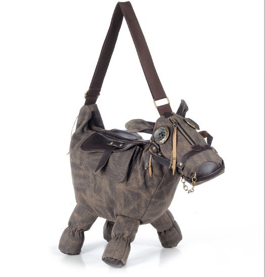 Hipsters Bag Creative Horse Shaped Canvas Material Handbag/Single ShoulderBag/Messenger Bag For Girl/Woman 1PC/1Lot(China (Mainland))
