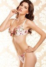 A6060/2 Very Sexy Bra Set Temptation Floral Rose Embroidery Underwire Push Up Front Center Tie Bra Thong Set free shipping
