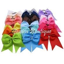 20pcs/lot 8″ Large Hair Cheerleading Bow With Elastic Hair Bands Extra Big Cheer Bow Ponytail Rubber Band For Girls Headbands