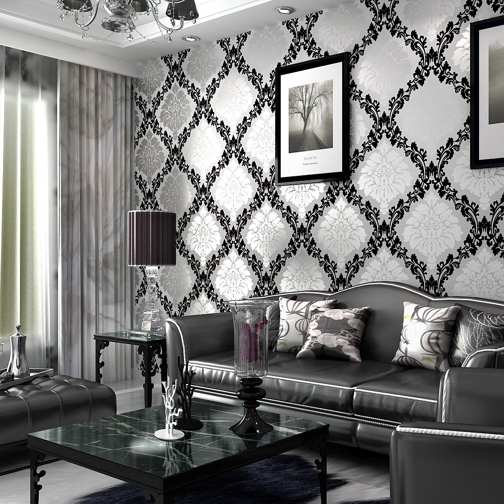 grey living room wallpaper modern house