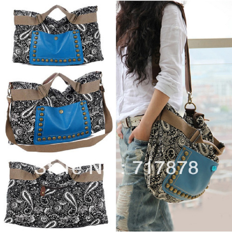 Vintage Girls Casual Faux Canvas Tote Shoulder Messenger Hand Hobo Bag Satchel Free shipping(China (Mainland))