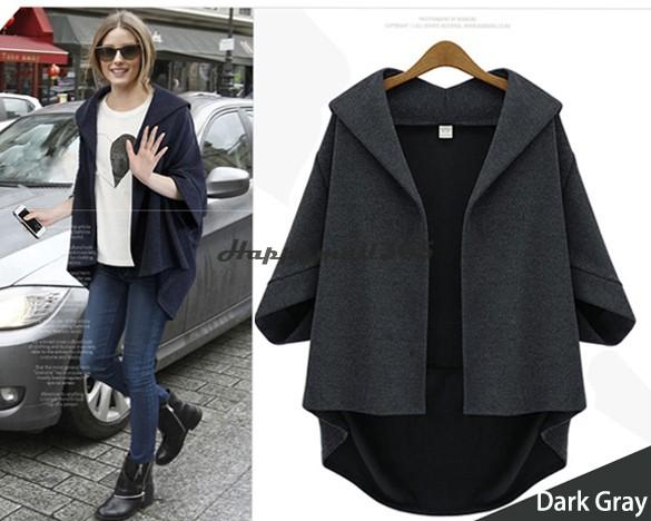 New Fashion Women Coat Thick Surcoat Coat Jacket batwing cardigan Batwing Sleeve Outwear Polyester Free Shipping SV14(China (Mainland))